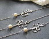 SET of 6 Filigree leaf glass bracelet, bridesmaids bracelet, wedding jewelry - BR020