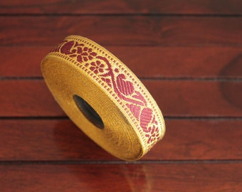 1 yard-Burgundy & Golden Jacquard Trims-Woven Ribbon-Decorative Art Quilts fabric trim-Designer Silk Saree Border Trim-Brocade Fabric Trim