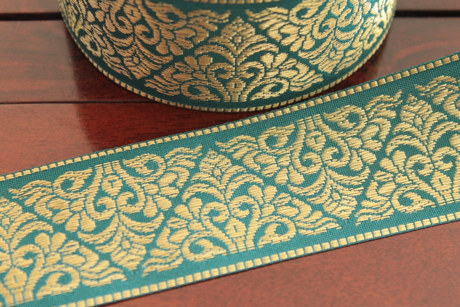 Home Decor Items In India 1 Yard Decorative Fabric Trim Peacock Green Woven Ribbon