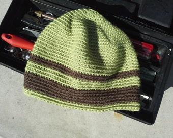 Pistachio Green Mens Alpaca Wool Hat - Womens Striped Crochet Hat - Men's Hiking Biking Skiing Skating Brown Cap (One Size - Ready to Ship)