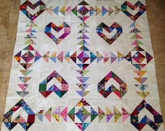 Scrappy Love Hearts Quilt Top made in USA 100% cotton
