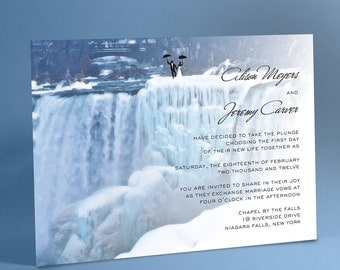 Waterfall Wedding Invitation Suite, Frozen Waterfalls, Niagara Falls with Optional Bride and Groom Silhouette Holding Tight to Umbrellas