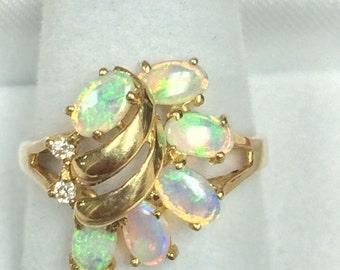 14K Yellow Gold Opal Diamond Ring Size 6.5
