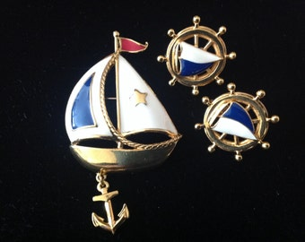 Avon Ship Dangle Anchor Brooch Earring Clip Set