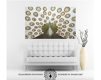 """Peacock wall decor HUGE XXXL """"Magnificent"""" golden home decor with Swarovski crystals & golden glitter peacock painting large wall art 36x48"""