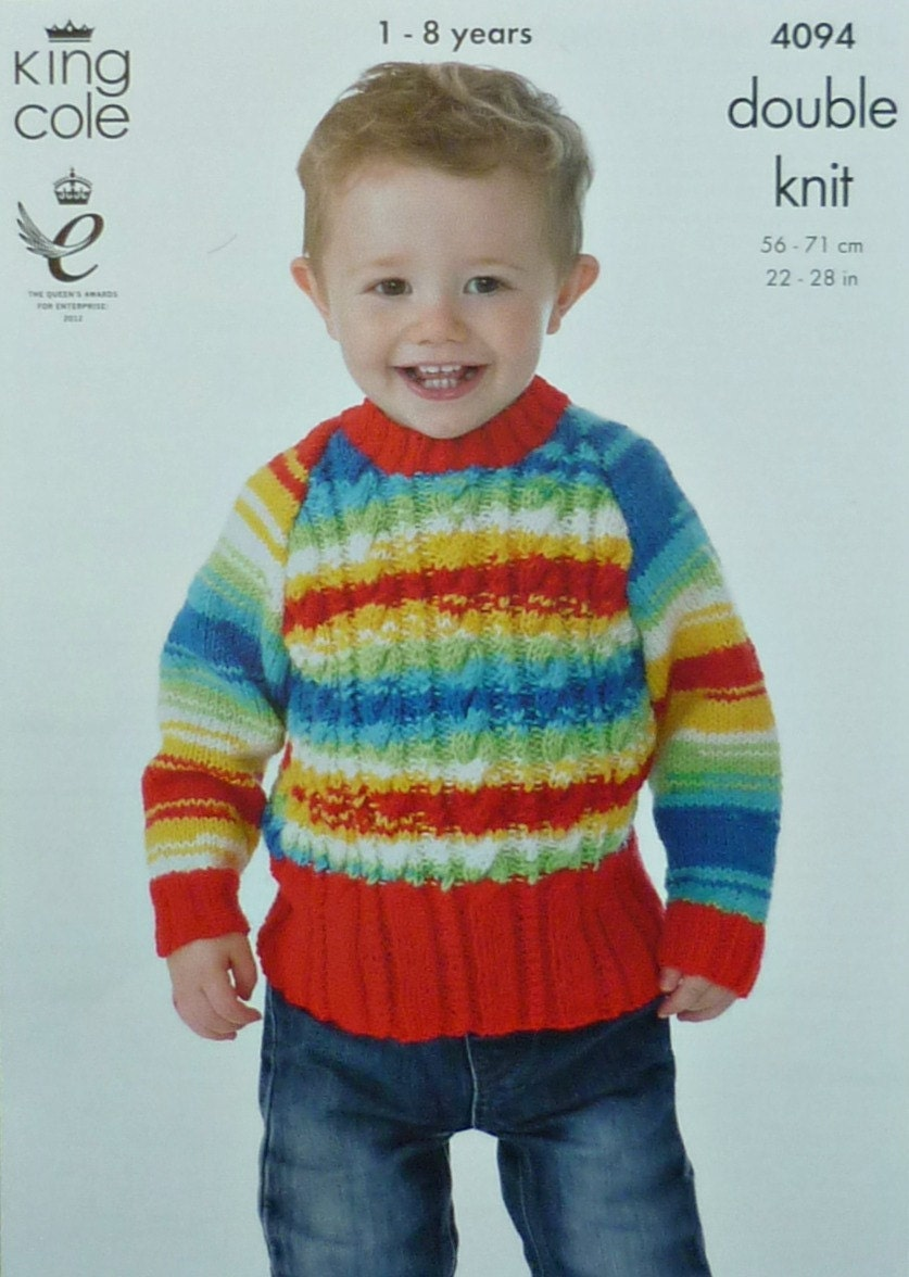 Boys Knitting Pattern K4094 Childrens Long Sleeve Round Neck Cable Jumper Kni...