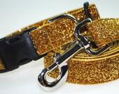 "Gold Metallic Glitter 1"" Width Adjustable Collar & Leash"