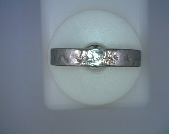 Palladium Textured Wedding Band 4 Millimeters Wide Size 9.5