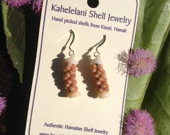 """Kahelelani Shell Rope Earrings .75""""Inches Sterling Silver Hooks Kauai Style-Eco Freindly-Island Style -Surfer Girl Beach Wear Eco Freindly"""