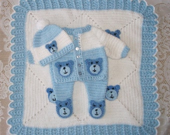 Crochet Baby Boy Teddy Bear Sweater Set Layette Outfit With Leggings and Blanket Perfect For Baby Shower Gift or Take Me Home Outfit