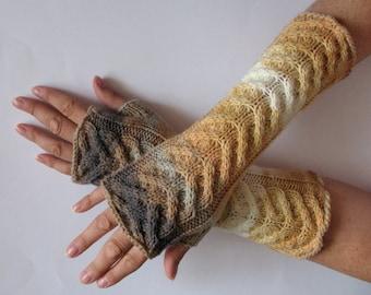 Fingerless Gloves Beige Yellow Gray White wrist warmers