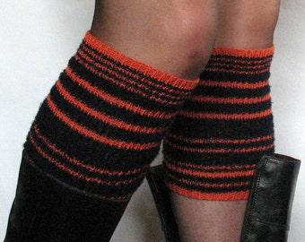 Boot Cuff Boot Toppers Leg Warmers Boot Socks Cable Striped Black Orange Dark Blue Multicolored