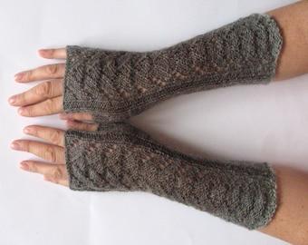 Fingerless Gloves Brown Gray wrist warmers