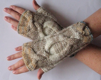 Fingerless Gloves Mittens Beige Milk White Cream Wrist Warmers Knit