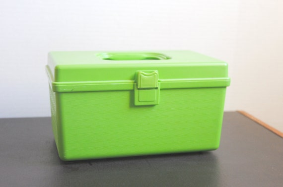 Vintage Bright Green Plastic Sewing Case Carry Along Tote