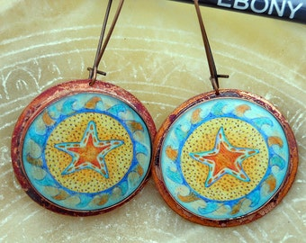 Starfish in the Waves Copper Resin Earrings