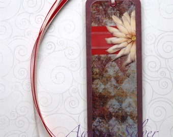 Handmade Laminated Durable Bookmark Flower design3 or gift set with button, magnet, mirror or keyring
