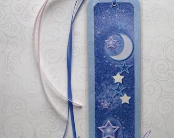 Handmade Laminated Durable Bookmark Moon and Stars