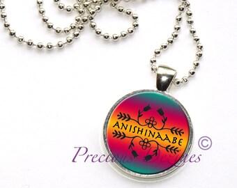 Ojibwe style floral pattern Anishinaabe pendant necklace