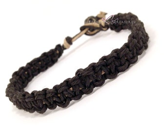 Mens Bracelet, Mens Gift, Thick Black Bracelet, Hemp Bracelet, Gift for him, Boyfriend Gift, Boyfriend Bracelet, Eco-Friendly Bracelet