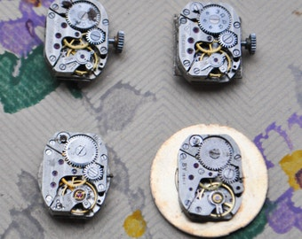 0.5x0.6 inch Set of 4 vintage small watch movements.
