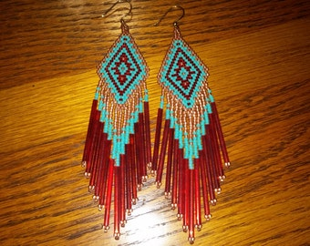 Native American Style Beaded Earrings in Turquoise, Copper and Red Chandlier, Boho, Hippie, Southwestern, Brick Stitch, Peyote Great Gift