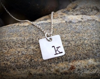 Minimalist Initial Necklace - Hand stamped Initial Necklace - Personalized Sterling Silver Initial Jewelry - Square initial pendant