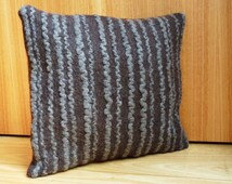 Brown/grey textured cushion cover, pillow cover, wool, hand felted, modern home furnishing, eco friendly home furnishing, eco friendly gift