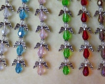 6 Crystal Angel Charms Silver Plated Wings Halos 5/8 Angels