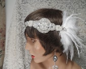 GATSBY headpiece flapper headband bridal headpiece bridal headband hair accessories 1920's headband bridal accessories rhinestone headband