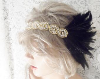 Rhinestone headband GATSBY HEADPIECE Gatsby headband bridal accessories Gold Black headband 1920s headband flapper headpiece bridal headband