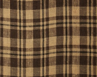 Two 20 x 20   Custom Pillow Covers -  Checks Plaid Black/Brown/ Natural  Burlap