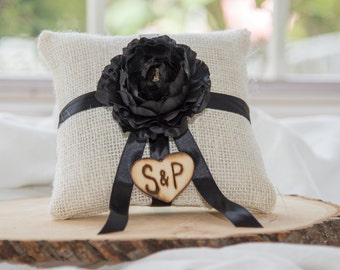 Black ranunculus flower ivory burlap personalized ring bearer pillow  shabby chic with engraved initials... many more colors available