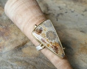 Fossilized Coral Cabochon Ring in Solid 18k Gold / Statement Ring. US size 6.5.