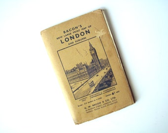 Vintage Bacon's Large Print Map of London and Suburbs, 1950-51 Huge Fold-Out Map