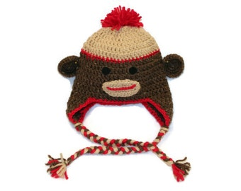 Crochet Sock Monkey Hat (toddler size)
