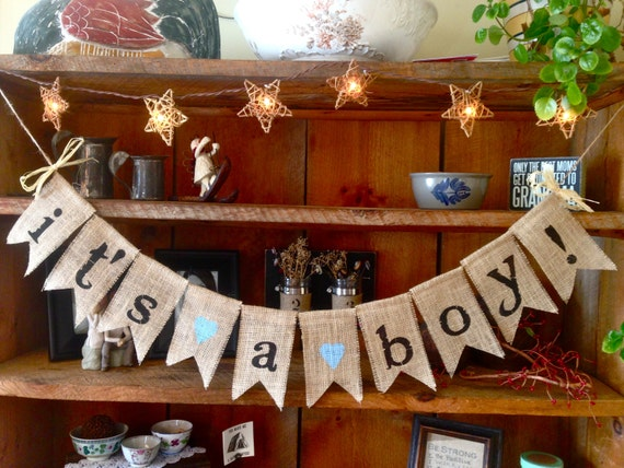 burlap baby bunting baby shower decoration its a boy bunting baby