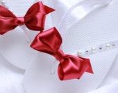 Bridal flip flops White and Red, Flat sandals, Bridesmaid favor, wedding shower gift, destination wedding anniversary, romantic wedding