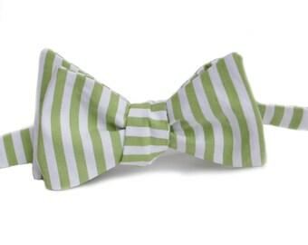 Green Stripe Bow Tie
