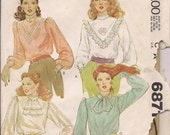 1979 sewing pattern McCall's 6871 misses blouses size 14 bust 36