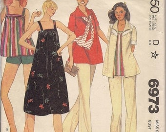 1979 Sewing Pattern McCall's 6973 Maternity dress, jacket, top, pants, shorts size 18 bust 40