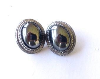 Vintage Hematite Pierced Earrings Retro Mirrored Grey Black Fashion Jewelry