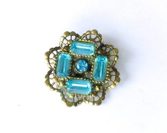 Aqua Rhinestone Lozenge Brooch Antique Blue Jewelry