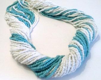 Aqua & White Beaded Torsade Necklace Vintage Multi Strand Choker Fashion Jewelry