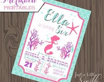 Mermaid Invitation printables, Printable Mermaid invite Printable, Mermaid invite, Mermaid party, Mermaid Birthday