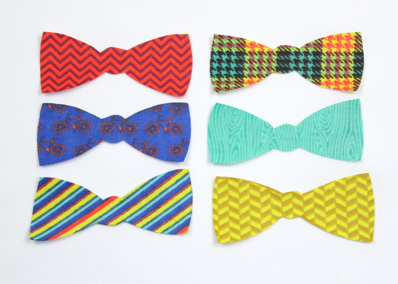 set of 6 bow tie iron on appliques diy bow tie onesie or bib. Black Bedroom Furniture Sets. Home Design Ideas