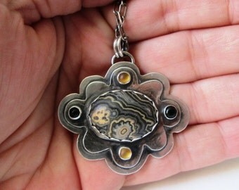 Flowering Tube Onyx, Black Onyx and Golden Citrine Layered Flower Pendant in Sterling Silver Necklace Jewelry