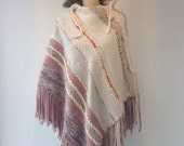 1970s HIPPIE WOVEN Wool PONCHO