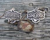 3 Vintage Liquor decanter labels, Bourbon, Sherry, Brandy with chains