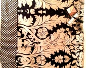 Black and Off-White Floral Pattern Print Silk Satin Scarf
